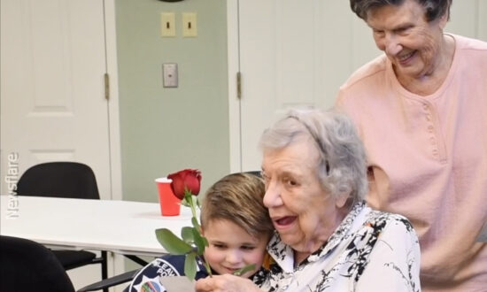Child 'Police Officer' Spreads Love At Nursing Homes With Hugs And Flowers
