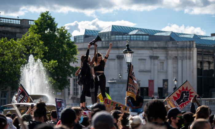 Protesters in Trafalgar Square during a Black Lives Matter demonstration on June 20, 2020 in London, UK. (Chris J Ratcliffe/Getty Images)