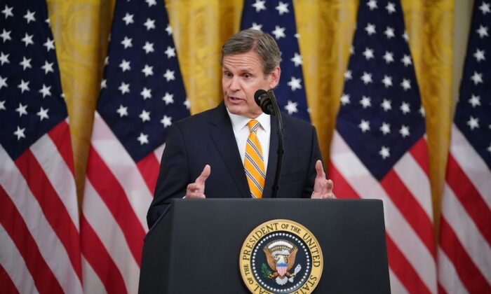 Tennessee Gov. Bill Lee speaks on protecting Americas seniors from the CCP virus pandemic in the White House in Washington, on April 30, 2020. (Mandel Ngan/AFP via Getty Images)