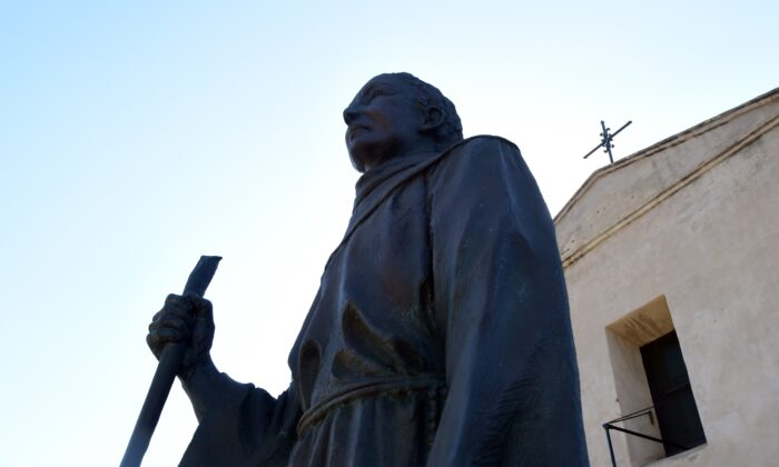 A statue of Junipero Serra in San Gabriel, Calif., in a file photograph. Statues of Serra, Union General Ulysses S. Grant, and Francis Scott Key were pulled down in San Francisco, Calif., on June 19, 2020. (Frederic J. Brown/AFP via Getty Images)