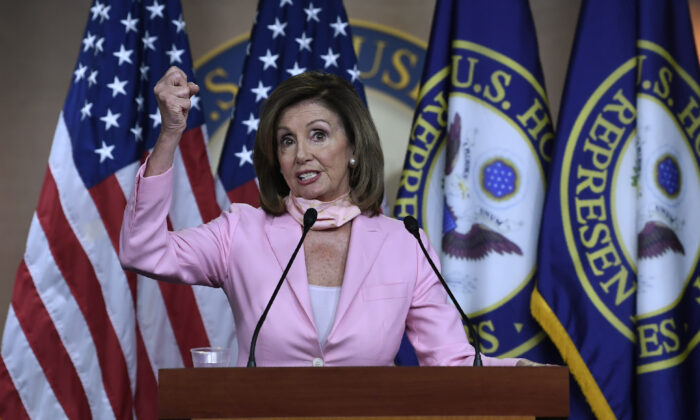 House Speaker Nancy Pelosi speaks during her weekly news conference on Capitol Hill in Washington on June 18, 2020. (Susan Walsh/AP Photo)
