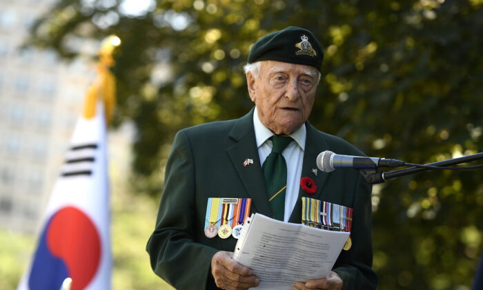 Korean War veteran Claude Charland speaks during a ceremony commemorating the 70th anniversary of the Korean War at the Monument to the Canadian Fallen in Ottawa, on June 21, 2020. (The Canadian Press/Justin Tang)