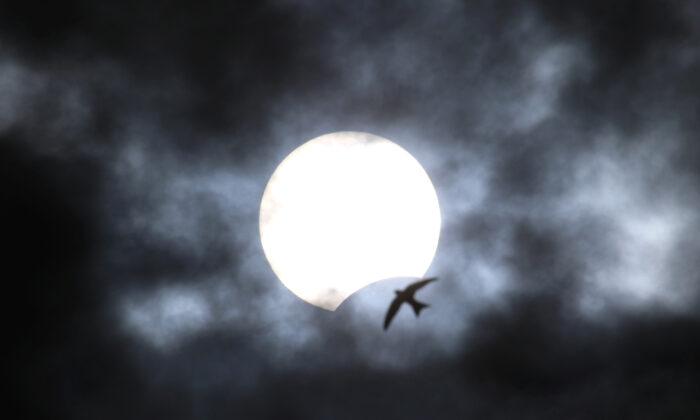 A partial solar eclipse is seen from Yevpatoria, Crimea, on June 21, 2020. (Alexey Pavlishak/Reuters)