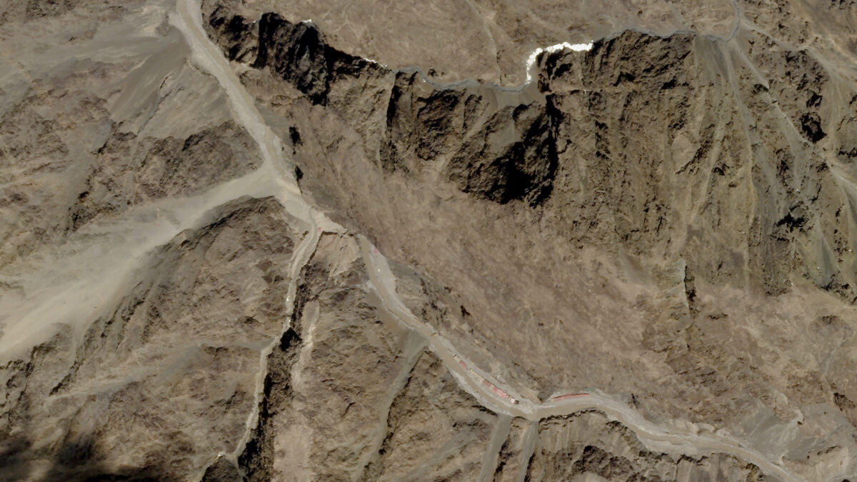A satellite image of Galwan Valley in Ladakh