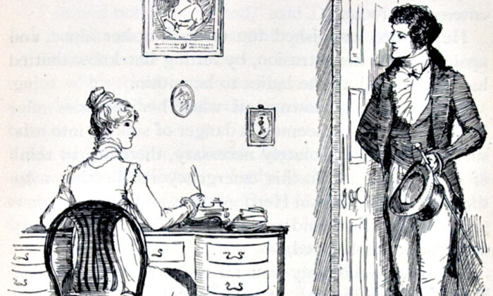 "Illustration by Hugh Thomson of Elizabeth and Mr. Darcy, from the 1894 London edition of ""Pride and Prejudice."" (Public Domain)"