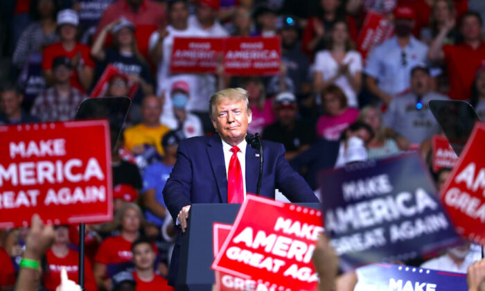 President Donald Trump at a campaign rally at the BOK Center in Tulsa, Okla., on June 20, 2020. (Charlotte Cuthbertson/The Epoch Times)