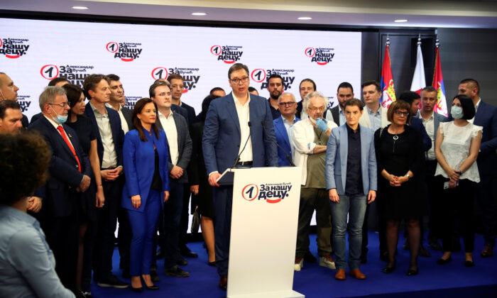 Serbian President Aleksandar Vucic speaks at Serbian Progressive Party (SNS) headquarters during a national election, in Belgrade, Serbia, on June 21, 2020. (Marko Djurica/Reuters)