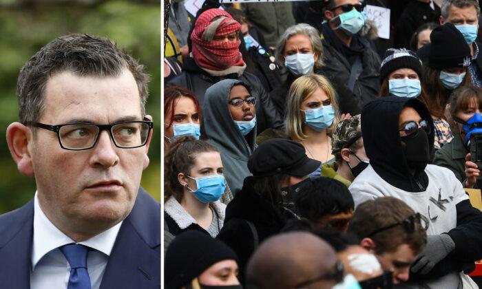 (L) Victorian Premier Daniel Andrews on June 17, 2020. (Darrian Traynor/Getty Images) (R) Black Lives Matter protesters in Melbourne, Australia, on June 6, 2020. (William West/AFP via Getty Images)