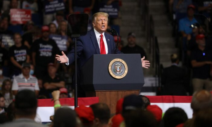 President Donald Trump speaks during his first re-election campaign rally in several months in the midst of the COVID-19 outbreak, at the BOK Center in Tulsa, Okla. on June 20, 2020. (Leah Millis/Reuters)