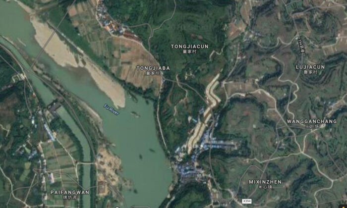 Satellite view of the Fu River in Chongqing, China. (Screenshot/Google Maps)