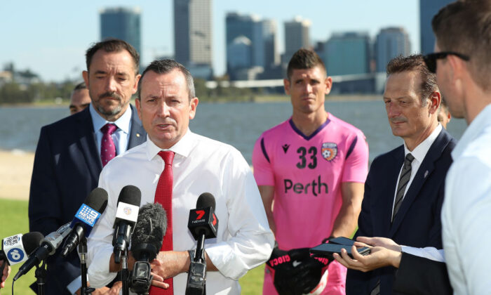 West Australian Premier Mark McGowan addresses the media during a Perth Glory media opportunity at the South Perth Foreshore on February 13, 2020 in Perth, Australia. (Paul Kane/Getty Images)