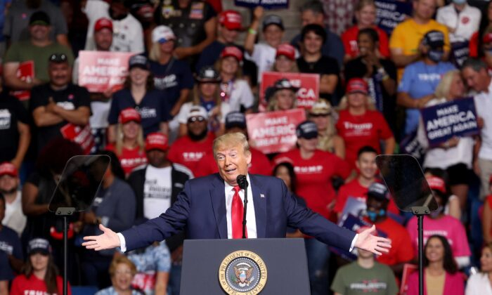 President Donald Trump speaks at a campaign rally at the BOK Center in Tulsa, Okla., on June 20, 2020. (Win McNamee/Getty Images)