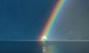 BC Man Captures Perfectly Timed Photo of Ferry Sailing 'Through' a Rainbow With iPhone