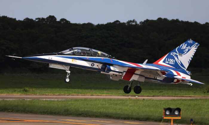 An AIDC T-5 Brave Eagle, Taiwan's first locally manufactured advanced jet trainer, takes off in Taichung, Taiwan, on June 22, 2020. (Ann Wang/Reuters)
