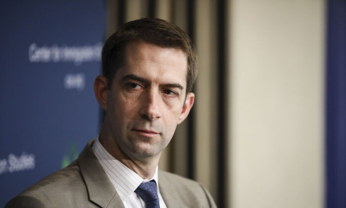 Sen. Tom Cotton (R-Ark.) at a border security discussion hosted by Center for Immigration Studies in Washington on July 30, 2019. (Samira Bouaou/The Epoch Times)