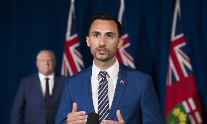 Ontario Minister of Education Stephen Lecce speaks during the daily updates regarding COVID-19 at Queen's Park in Toronto on Tuesday, June 9, 2020. (Nathan Denette/The Canadian Press)