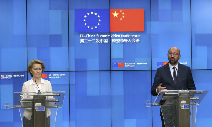 European Council President Charles Michel, right, and European Commission President Ursula von der Leyen participate in a media conference at the conclusion of an EU-China summit at the European Council in Brussels on June 22, 2020. (Yves Herman, Pool Photo via AP)