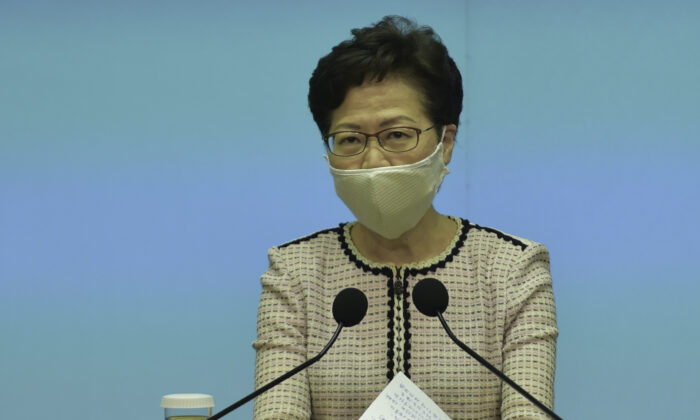Hong Kong leader Carrie Lam speaks during her weekly press conference in Hong Kong on June 23, 2020. (Bill Cox/The Epoch Times)