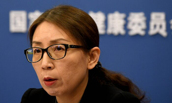 China's Medical Administration and Supervision for National Health Commission deputy director Jiao Yahui speaks during a press conference in Beijing on Jan. 28, 2020. (Noel Celis/AFP via Getty Images)