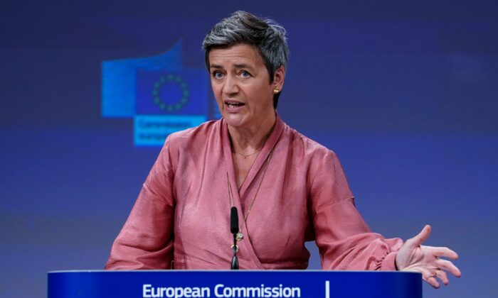 European Union Commission Executive Vice President Margrethe Vestager talks during a video press conference at the European Commission in Brussels on June 17, 2020. (KENZO TRIBOUILLARD/POOL/AFP via Getty Images)