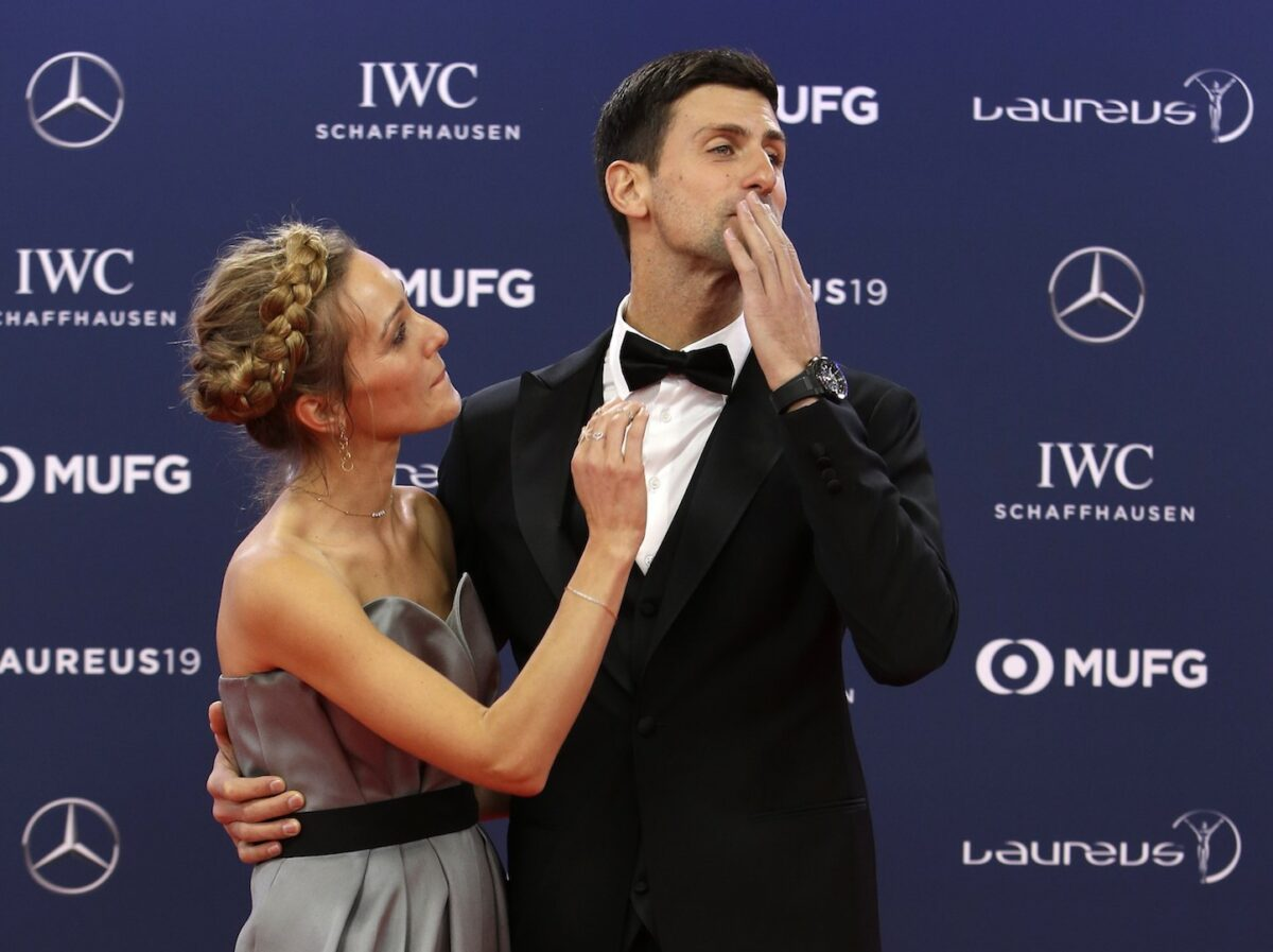 Serbian tennis player Novak Djokovic and his wife Jelena