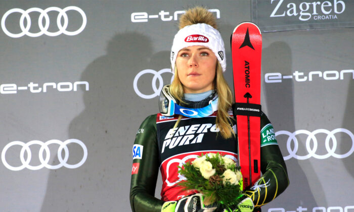 Mikaela Shiffrin takes 2nd place at the Audi FIS Alpine Ski World Cup Women's Slalom on Jan. 4, 2020, in Zagreb, Croatia. (Christophe Pallot/Agence Zoom/Getty Images)