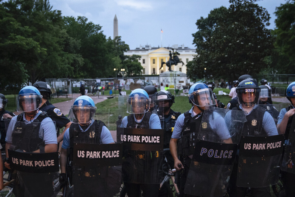 us park police near andrew jackson statue white house