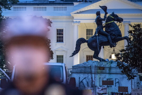 The equestrian statue of former U.S. President General Andrew Jackson has ropes and chains still hanging