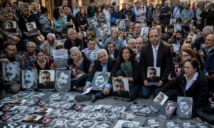 The commemoration of the 1915 Armenian mass killings, in Istanbul on April 24, 2018. (Chris McGrath/Getty Images)