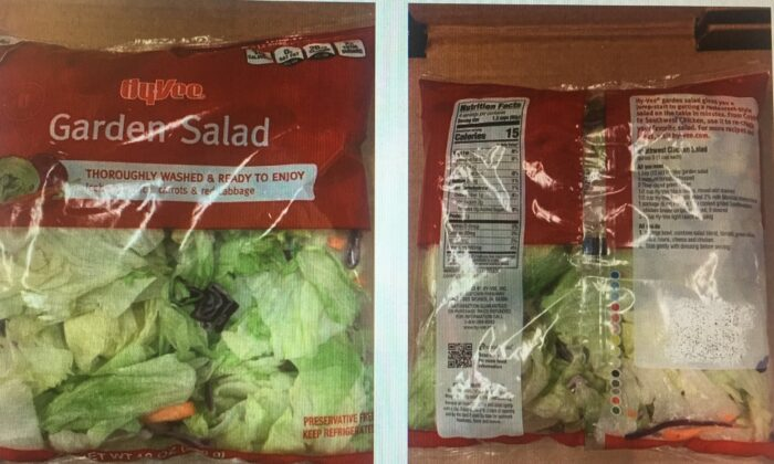 Hy-Vee Farms Garden Salad Mix recalled from the stores after an outbreak of diarrhea-causing microscopic parasite. (Courtesy of the FDA)