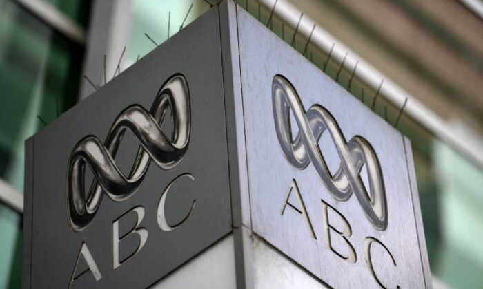 The logo for Australia's public broadcaster ABC is seen at its head office building in Sydney on September 27, 2018. (SAEED KHAN/Getty Images)