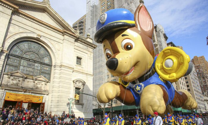 A Paw Patrol balloon of the character Chase floats during the annual Macy's Thanksgiving parade in New York City on Nov. 28, 2019. (Kena Betancur/Getty Images)