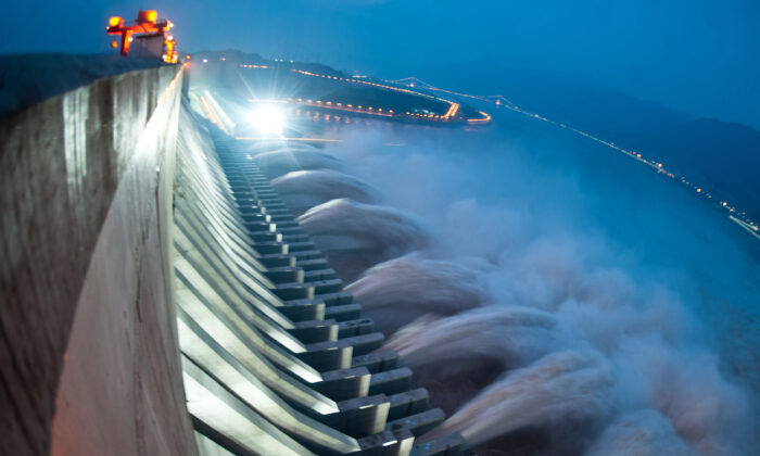 Water is released from the Three Gorges Dam on the Yangtze river, in Yichang, central China's Hubei Province on July 24, 2012. (STR/AFP/GettyImages)