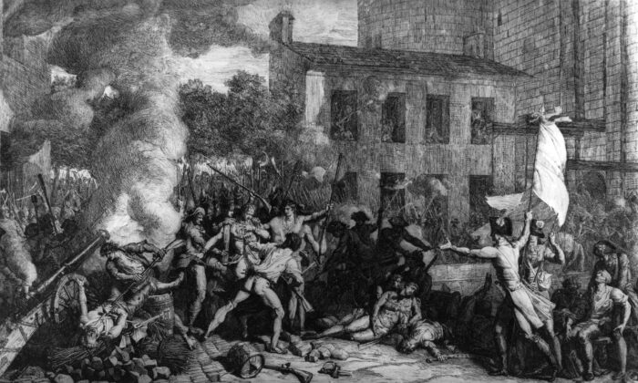 French troops storming the Bastille during the French Revolution. (Rischgitz/Getty Images)