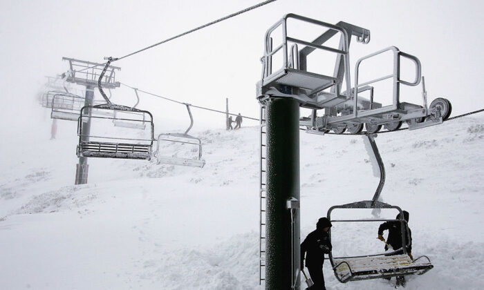 Resort staff prepare the Summit Quad chairlift for opening during the start of the Australian snow season at Mount Hotham on June 17, 2005 in Mount Hotham, Australia. (Mark Dadswell/Getty Images)