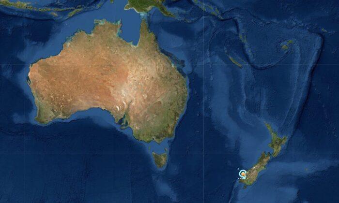 5.5-6.0 magnitude earthquake hits New Zealand's South Island on June 25, 2020. (USGS/Screenshot)