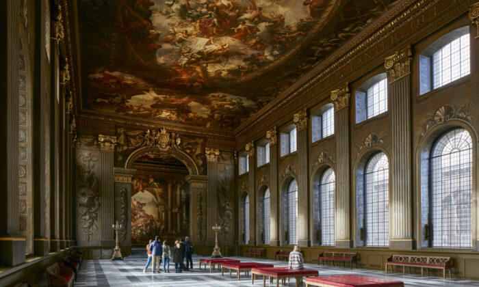 The Painted Hall at the Old Royal Naval College in Greenwich, London, where hundreds of figures feature in Sir James Thornhill's paintings celebrating Britain's monarchs and its naval and merchant might. (Old Royal Naval College)