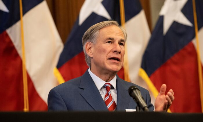 Texas Governor Greg Abbott speaks at a press conference at the Texas State Capitol in Austin on May 18, 2020. (Lynda M. Gonzalez-Pool/Getty Images)