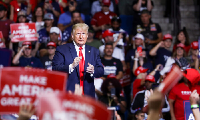 President Donald Trump at a campaign rally in the BOK Center in Tulsa, Okla., on June 19, 2020. (Charlotte Cuthbertson/The Epoch Times)