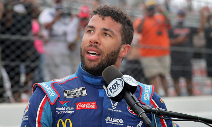 Bubba Wallace, driver of the #43 Victory Junction Chevrolet, speaks to the media after the NASCAR Cup Series GEICO 500 at Talladega Superspeedway in Talladega, Ala., on June 22, 2020. (Chris Graythen/Getty Images)