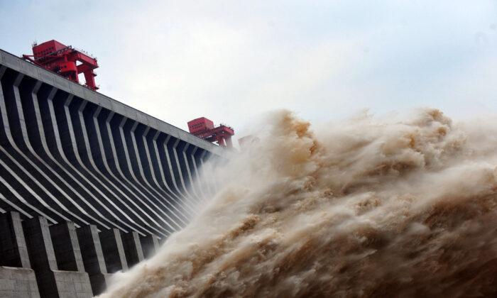This picture taken on July 24, 2012 shows water released from the Three Gorges Dam, a gigantic hydropower project on the Yangtze river, in Yichang, central China's Hubei province.(STR/AFP/GettyImages)