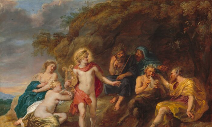 """Things did not turn out well for Midas. Apollo in a red cloak, the god of music, gestures to Midas, the king of Phyrigia. Midas, with donkey's ears, in """"The Judgment of Midas,""""circa 1640, by Jan van den Hoecke. Corcoran Collection (William A. Clark Collection). (Public Domain)"""