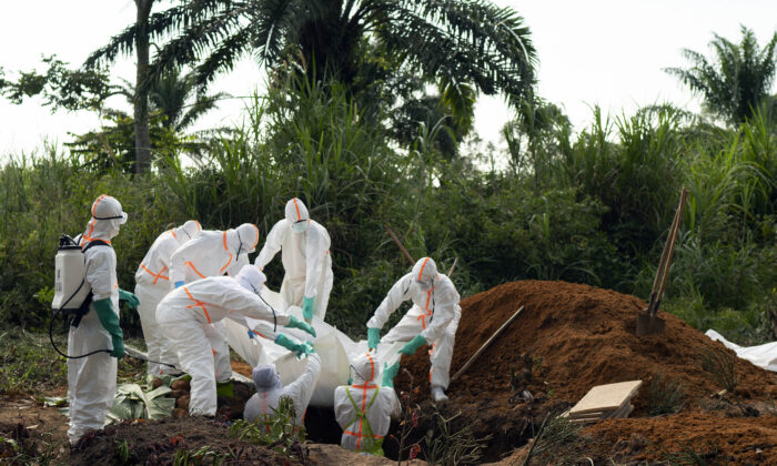 An Ebola victim is put to rest at the Muslim cemetery in Beni, Congo, on July 14, 2019. (Jerome Delay/AP Photo)