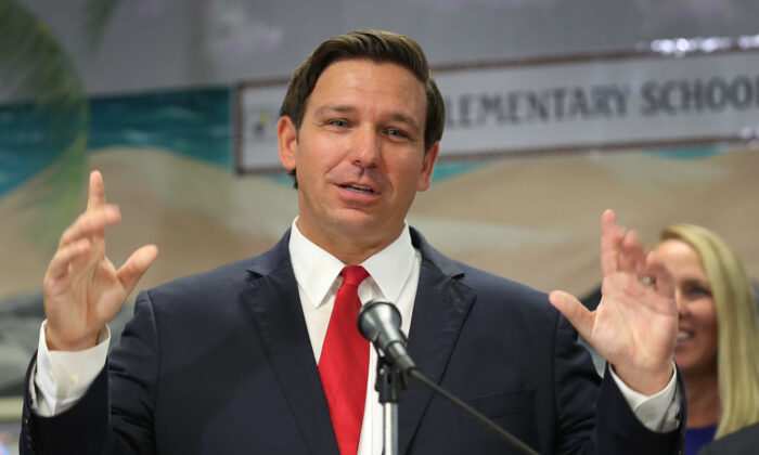 Florida Gov. Ron DeSantis announces that he wants to raise the minimum starting salary for teachers during a press conference held at Bayview Elementary School in Fort Lauderdale, Fla., on Oct. 7, 2019. (Joe Raedle/Getty Images)