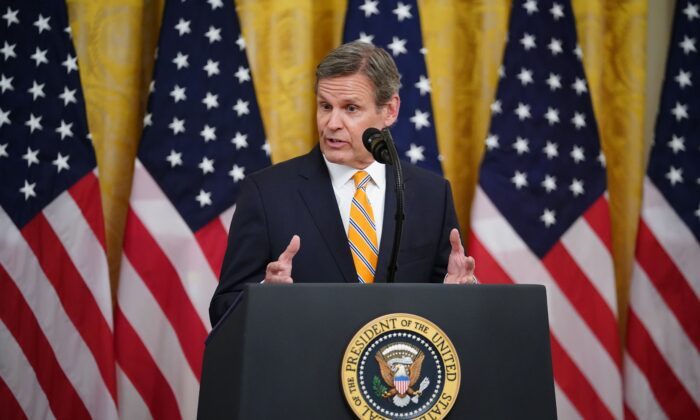 Tennessee Governor Bill Lee speaks on protecting Americas seniors from the COVID-19 pandemic in the East Room of the White House in Washington, DC on April 30, 2020. (Photo by MANDEL NGAN / AFP) (Photo by MANDEL NGAN/AFP via Getty Images)