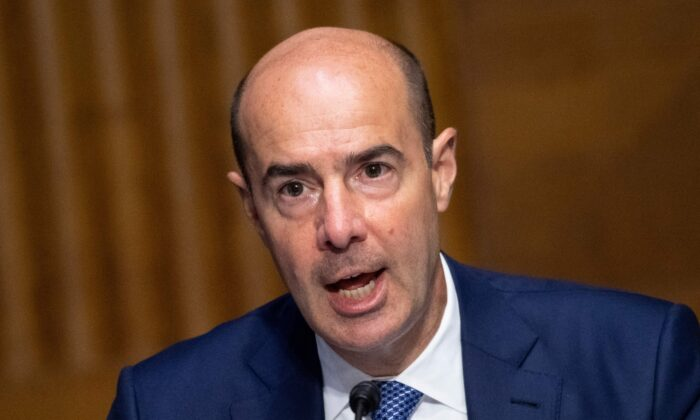 Labor Secretary Eugene Scalia testifies during a Senate Finance Committee hearing on COVID-19/Unemployment Insurance on Capitol Hill in Washington on June 9, 2020. (CAROLINE BREHMAN/POOL/AFP via Getty Images)