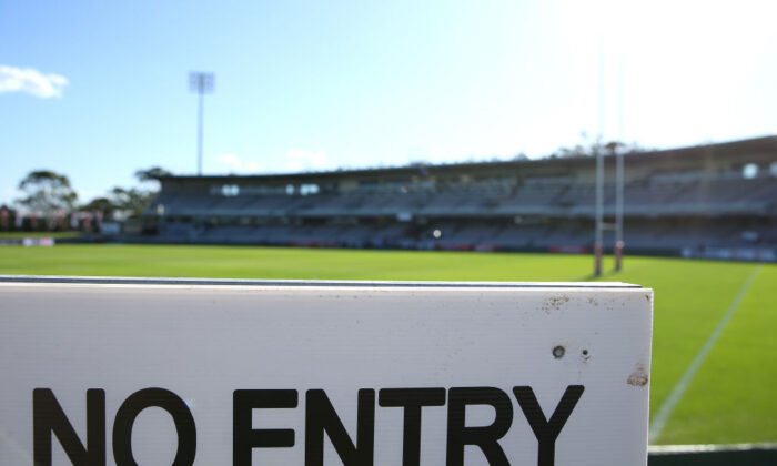Netstrata Jubilee Stadium on March 20, 2020 in Sydney, Australia prior to the round 2 NRL match between the St George Illawarra Dragons and the Penrith Panthers. Due to the COVID-19 virus outbreak, the fixture will be played with no fans in attendance due to a NSW Public Health Order prohibiting outdoor events with more than 500 people. (Jason McCawley/Getty Images)