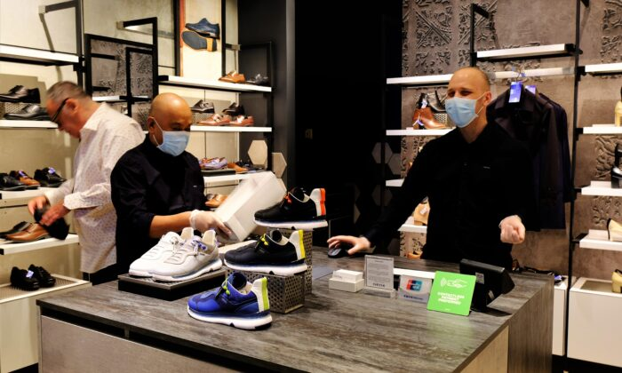 A shoe store at the Eaton Centre in Toronto on June 24, 2020, as the city enters Stage 2 of reopening. (Heejin Park/The Epoch Times)
