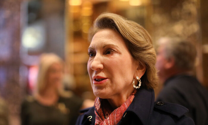 Former Republican presidential candidate Carly Fiorina speaks to the media after a meeting at Trump Tower in New York City on Dec. 12, 2016. (Spencer Platt/Getty Images)