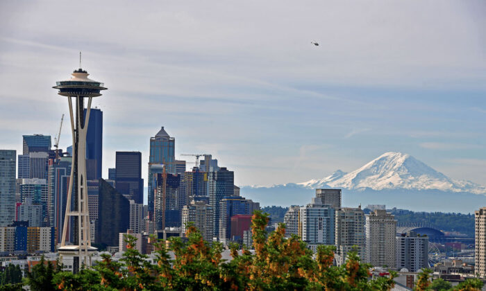 A general view of the Seattle Skyline and Mount Rainier from Kerry Park in Seattle, Washington, on June 9, 2019. (Donald Miralle/Getty Images for Rock'n'Roll Marathon)